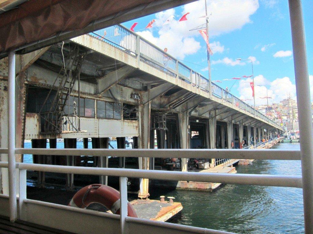 Eyup Ferry goes under bridge, Istanbul