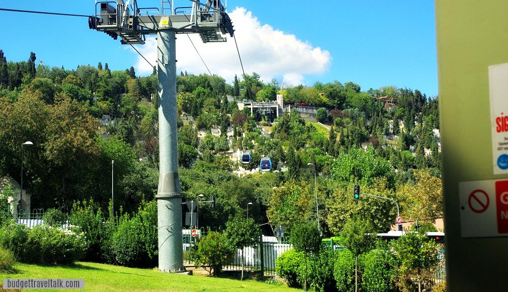 Looking to the top of Pierre Loti Hill from the bottom Gondola Station in Eyup Istanbul Turkey