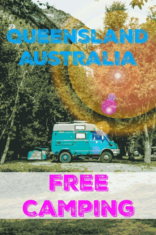 Blue Campervan Free Camping in Queensland Australia