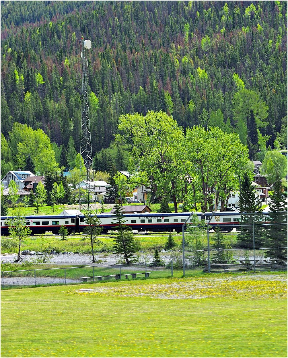 Train at the Town of Field near Emerald Lake Kicking Horse Pass