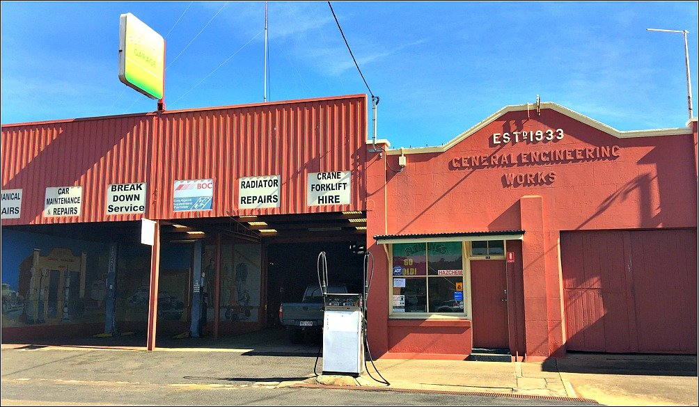 Flemings Garage Nanango is the site of one of Nanango Queensland's 22 Murals by Willie Nelson