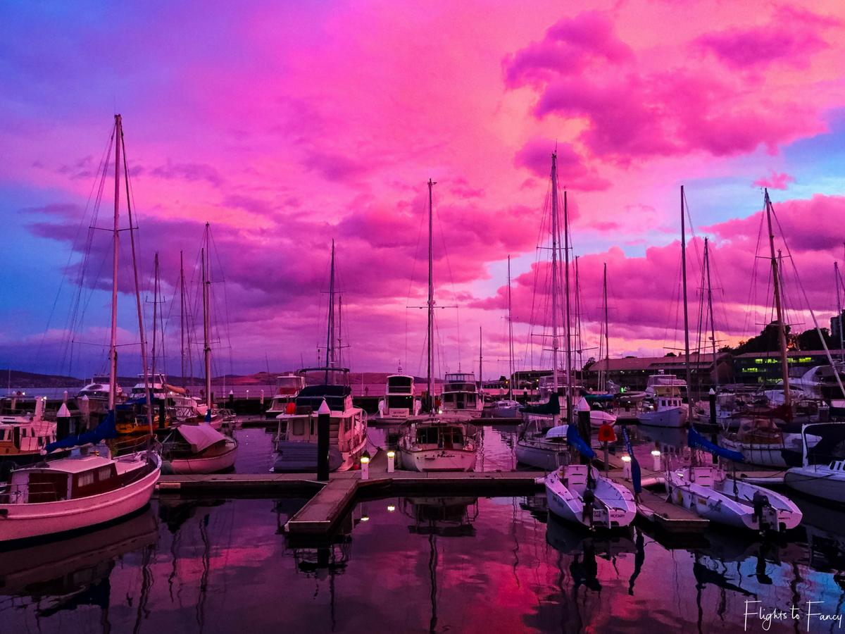 Flights to Fancy - Hobart Harbour Pink Sunset