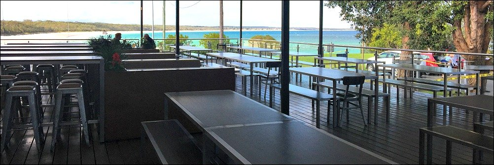 Huskisson Hotel Verandah is a great place for a cold drink or a counter meal while you soak up that view
