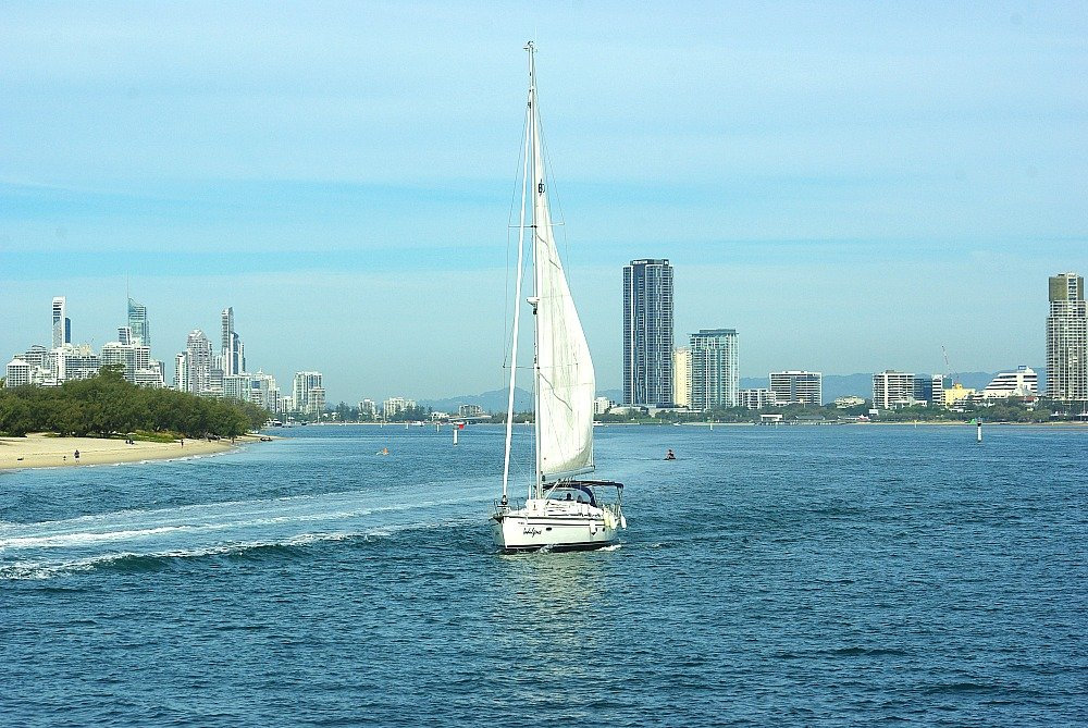 Sailboat on the broadwater Surfers Paradise
