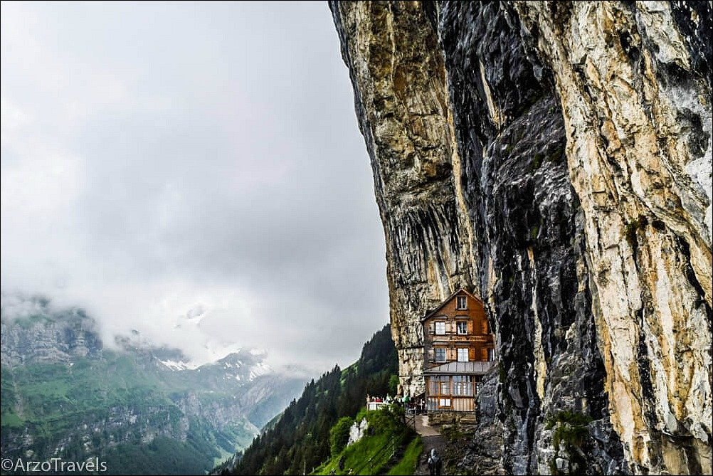 Hiking in Switzerland to a mountain guesthouse is on our Europe Bucket List