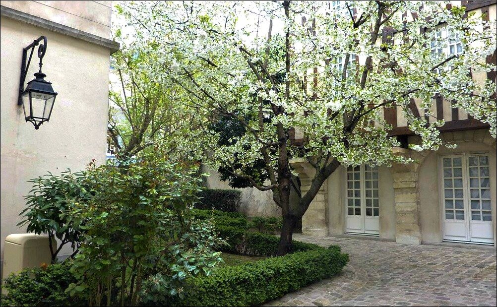 The paved Le Marais Garden France with tree as visited with the Paris Greeters free guided walking tours