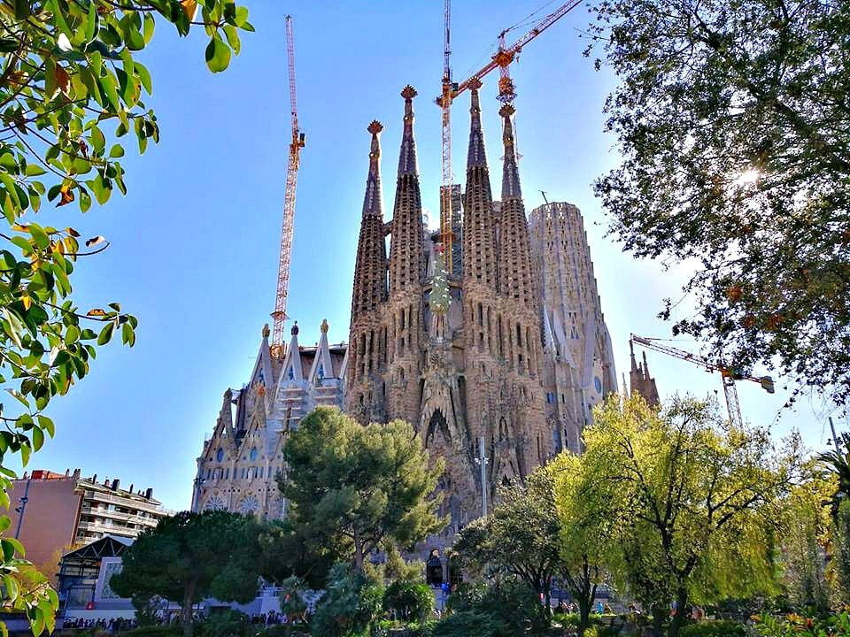 An outside shot of Sagrada Familia, Gaudi's unfinished cathedral in Barcelona