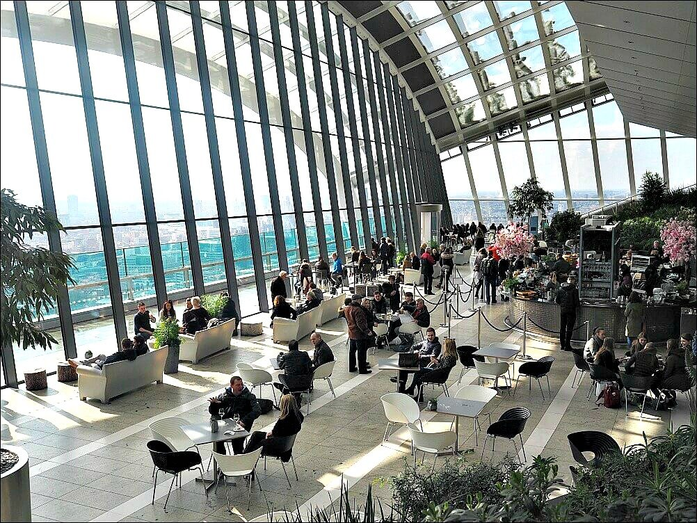 Sky Garden Bar and Free Viewpoint in London from the inside looking out