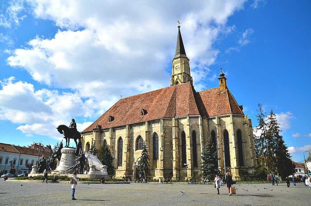 The exterior of St. Michael's Church in Uniri square in Cluj Napoca Romania